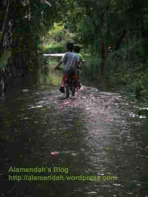anak-anak melintasi jalan di samping rumahku yang banjir