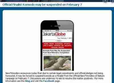 Laman www.new7wonders.com yang memuat penyataan ditangguhkannya pulau Komodo