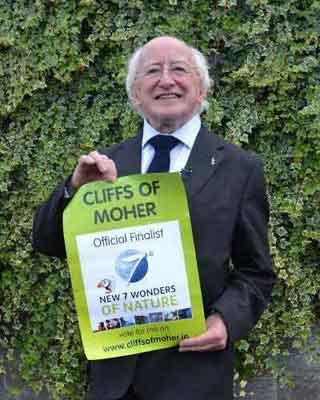 Presiden Irlandia mendukung Cliffs of Moher