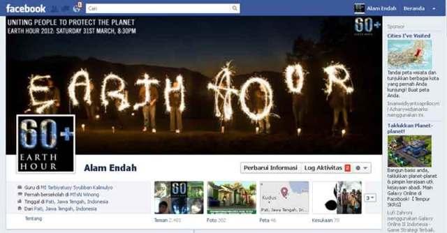 Penampakan timeline facebook saya dengan sampul dan foto profilnya