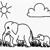 [Bisa diprint] Gambar Mewarnai Gajah