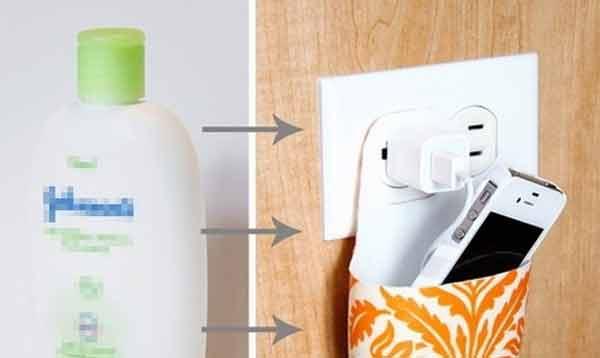 Recycle dengan botol kemasan menjadi tempat charger