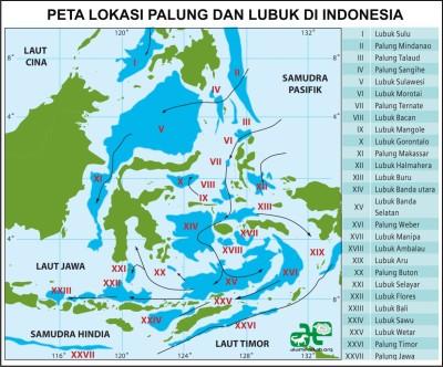 Lokasi (Peta) Palung dan Lubuk di Indonesia